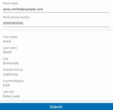 LinkedIn Lead Ads form