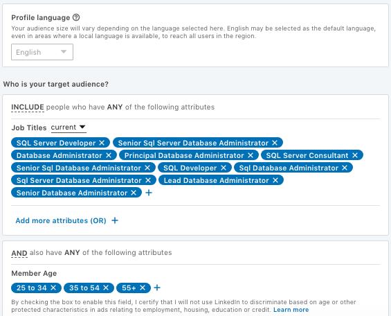 LinkedIn B2B marketing targeting example