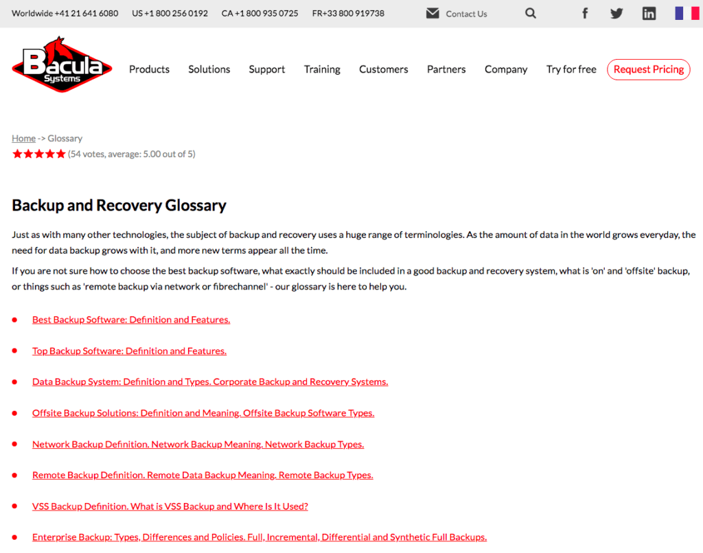 glossary section for search marketing
