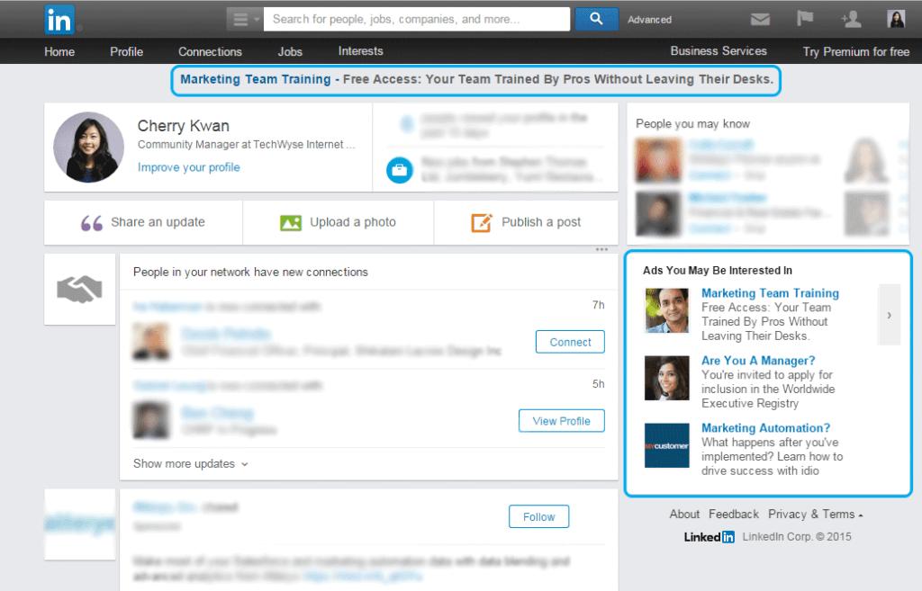 LinkedIn text ads for B2B online marketing