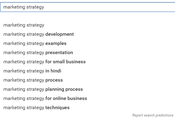 "search results with a ""marketing strategy"" keyword"